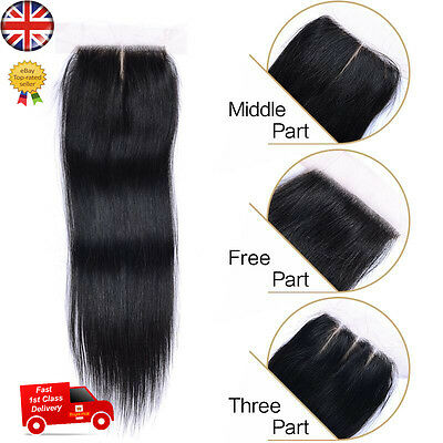 "Hair Parting Top Closure Brazilian Virgin Remy 6A Human Hair Swiss Lace 4x4"" UK"