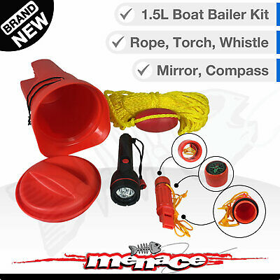 BAILER KIT Boat Safety Emergency Marine Gear Whistle Rope Compass Torch Mirror