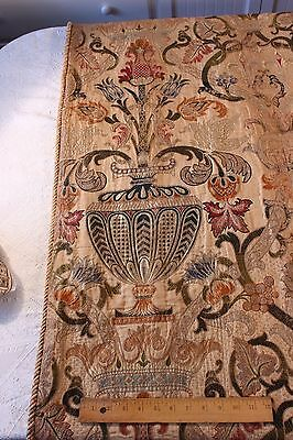 Antique 19thC Silk & Metallic Rich & Elegant Pair Of Curtains~Renaissance Design