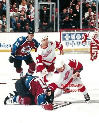Red Wings vs Avs 8 x 10 Fight Photo copy signed by 3 plus 20th Anniv newspaper Fan Apparel & Souvenirs