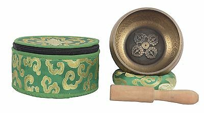 Meditation Tibetan Singing Bowl with Special Itching and protective pouch-GOL...