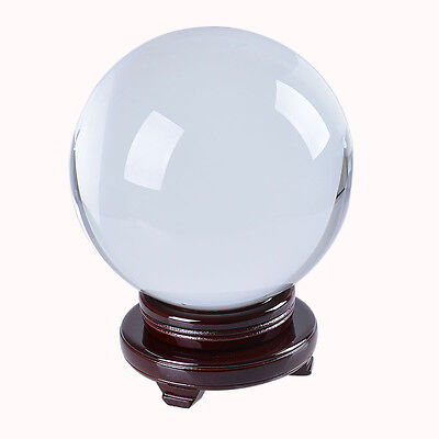 Fengshui Crystal Ball Glass Sphere with Wood Stand 200mm