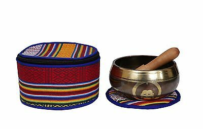 Meditation Tibetan Singing Bowl with Hand Carving and protective pouch