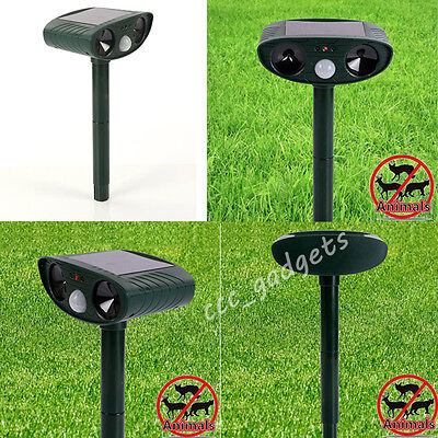 2x PIR Auto Sensor Ultrasonic Solar Cat Dog Fox Rodent Animal Repeller Deterrent