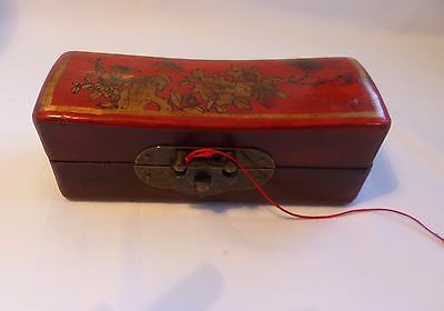 Antique Chinese Red Lacquer Carved Wood brass Box / Pen box