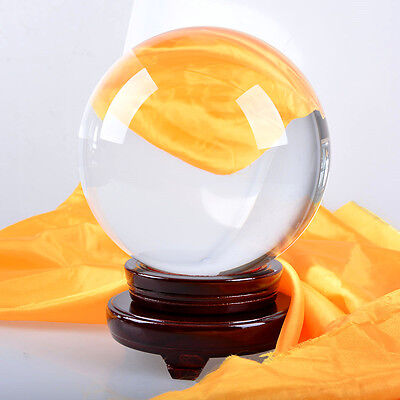 Crystal Ball Glass Sphere with Wood Stand for Decor Photography Divination 250mm