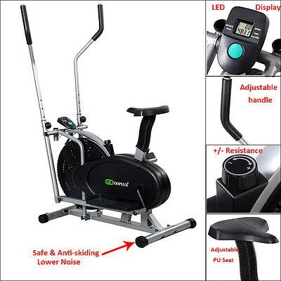 2in1 Elliptical Cross Trainer Aerobic Exercise Bike Fitness Workout Gym Cardio