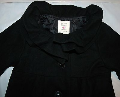 Adorable Old Navy Black Ruffled Collar Wool Blend Coat Christmas Holiday 4T 4