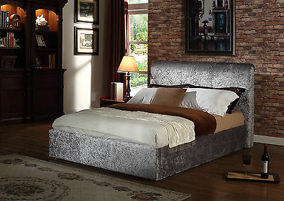 "4ft6"" Double Rome Crushed Velvet Fabric Upholstered Bed Frame New 2016 In Silver"