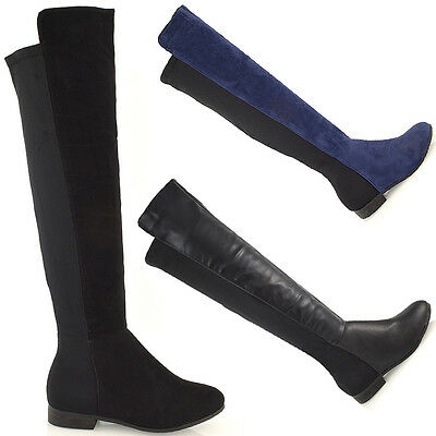 New Womens High Over The Knee Stretch Flat Elasticated Ladies Low Heel Boots 3-8