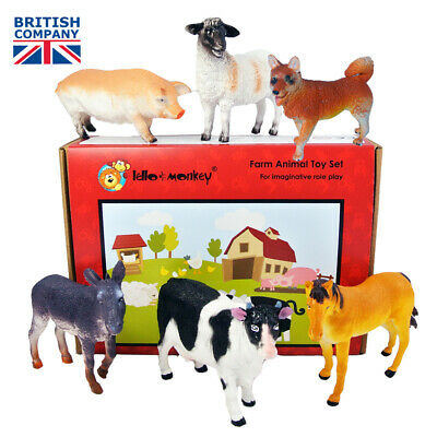 Farm Animal Plastic Toy Figures boxed set of 5 from UK supplier