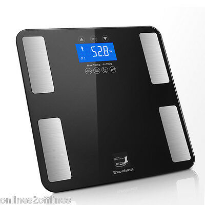 Digital LCD Scales Body Fat Weight BMI Calories Muscle Weighing Monitor Bathroom