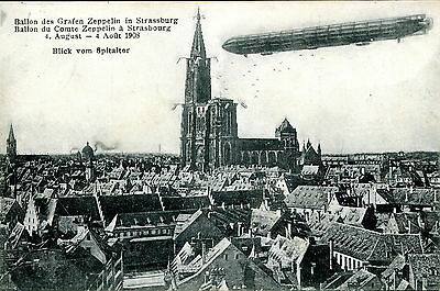 Germany 1908 Zeppelin Airship Over Strasbourg City  Pc Vf Used