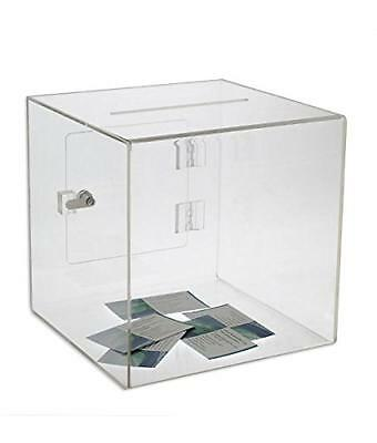 SourceOne Small 6 Inch Premium Clear Acrylic Ballot Box Donation Box Cube, New,