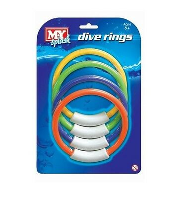 M.Y Pack Of 4 Coloured Dive Rings Underwater Swimming Pool Weighted Pick Up Ring