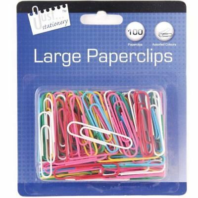 Pack of 100 Jumbo Large Coloured Paper Clips Office School Statiomery