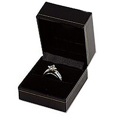 Black Ring Gift Boxes Classic Leatherette Wholesale Lots Jewelry Packaging Rings