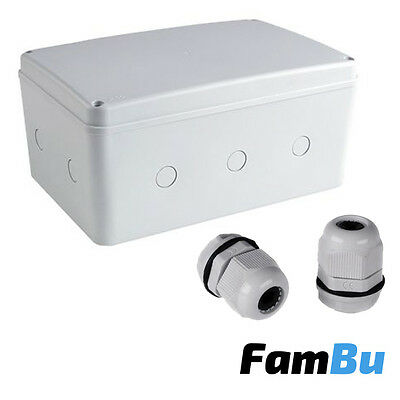 Weatherproof Junction Box 270mm + 2 Glands - IP66 - Outdoor Electrical