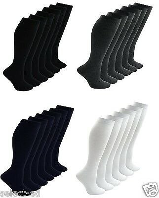 Girls Kids Back To School 3 Pairs Plain Knee High Long Socks Cotton Uniform Warm