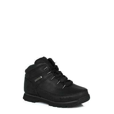 Timberland Kids Ankle Boots LaceUp Euro Sprint Junior Black Leather Hiking 53788