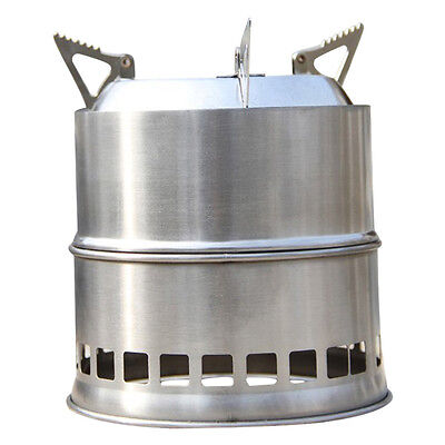 Portable Stainless Steel Lightweight Wood Stove Solidified Alcohol Stove Outdoor