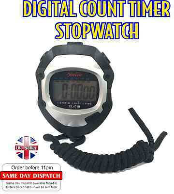 Digital Handheld Sports Stopwatch Time Clock Alarm CounterTimer DoubleCount Mode