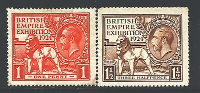 GREAT BRITAIN Sc185-86 SG430-31 MH 1924 KGV British Empire Exhibition set SCV$29