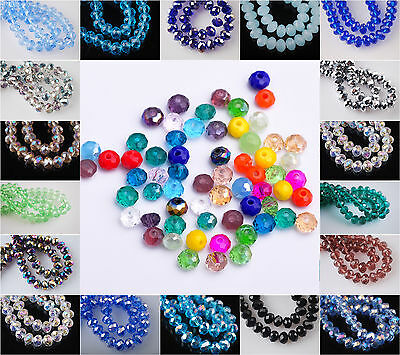 Wholesale Lot 3mm 4mm 6mm 8mm Rondelle Faceted Crystal Glass Loose Spacer Beads
