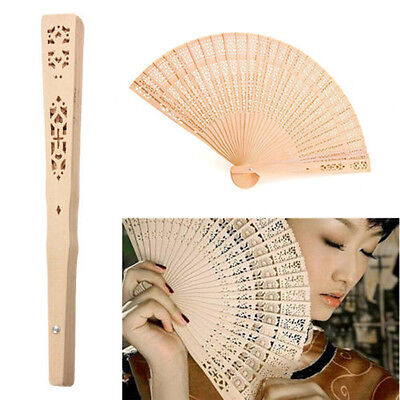 Romantic Wedding Bridal Party Folding Carved Bamboo Original Wooden Hand Fan AU