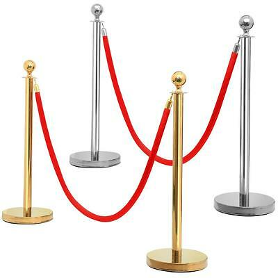 2pcs Ball Top Stainless Steel Stanchion Posts Queue Barrier w/ 6.5'' Red Rope