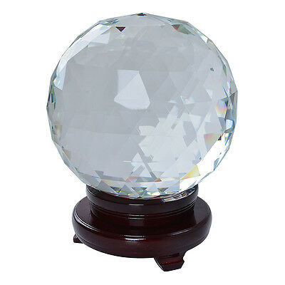 LONGWIN Crystal Sparkly Suncatcher Sphere Clear with Wood Stand 200mm