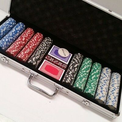 500 Piece Poker Game Set with ALUMINIUM CASE 11.5g - Casino Weighed Chips