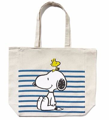 Cotton On Peanuts Snoopy woodstock striped cotton tote eco reusable shopping bag