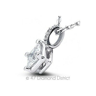 0.89ct I-SI1 VG Princess Real Diamonds 18K Gold Prong Classic Fine Pendant+Chain