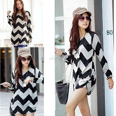 Fashion Women Ladies Loose Casual Tops Blouse Tee Striped Long Sleeve T-Shirt