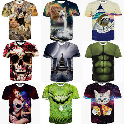 Funny Men's 3d Print Summer Short Sleeve Casual T-Shirts Graphic Tee Shirts