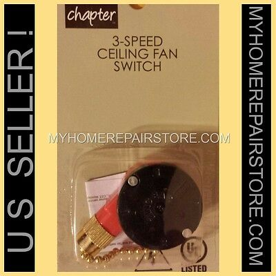 Free S&h! Chapter Mainstays 3-Speed 4 Wire Ceiling Fan Switch / Zing Ear Ze-208S