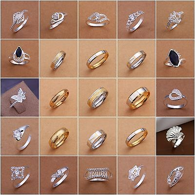 Womens 925Sterling Silver Jewellery Rings Wedding Engagement Crystal Ring Cycle