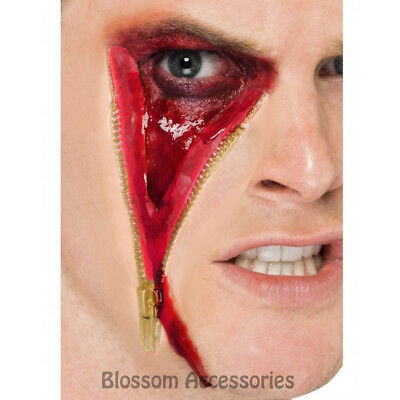 A870 Zip Face Scar Latex Halloween Costume Make Up Zombie Special Effects Wound