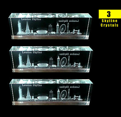 3 x LONDON SKYLINE CRYSTAL GLASS 3D BRITISH SOUVENIRS X 3 SKYLINE CRYSTALS
