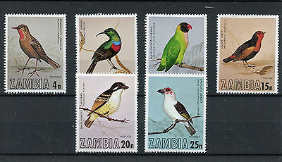 Zambia 1977 MNH Birds 6v Set Sunbirds Lovebirds Finches Barbet Stamps