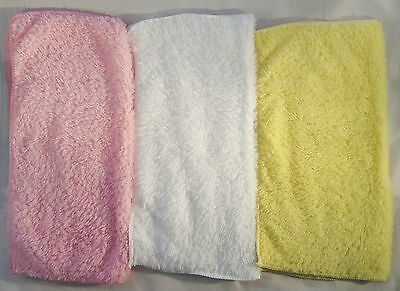 3x Super soft microfibre baby face washers towels flannels wipe wash cloth