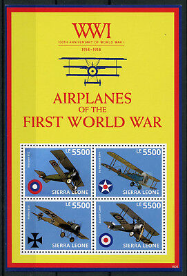 Sierra Leone 2014 MNH WWI 100th First World War Airplanes 4v M/S Fokker Stamps