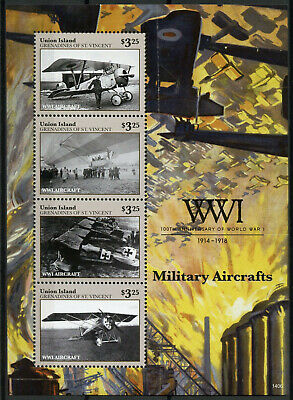Union Island Grenadines St Vincent 2014 MNH WWI Military Aircrafts 4v M/S Stamps