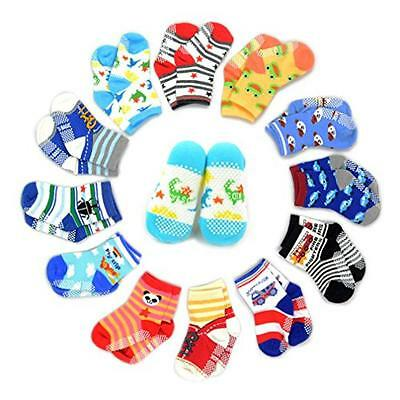 Marrywindix 12 Pairs Anti-slip Assorted Kids Baby Socks Boys Girls Toddler Walke