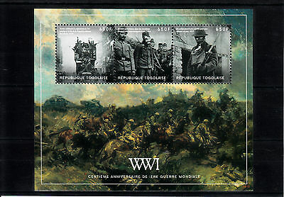 Togo 2014 MNH WWI 100th Anniversary First World War 4v M/S II Soldiers Stamps