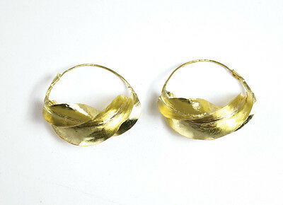"Large Fula Gold lightweight Earrings 100% unique hand craft 1½"" twisted bronze"