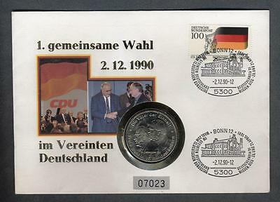 NUMISBRIEF GERMANY 1.Gemeinsame Wahl 2.12.1990 with medal