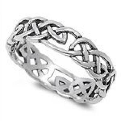 Celtic Wicca Pagan Eternity Ring Sterling Silver 925 Size 11, New, Free Shipping