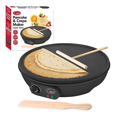 """1000W Electric Pancake & Crepe Maker 12"""" Non Stick Plate With Free Accessories"""